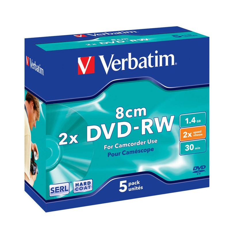 Mini DVD-RW Verbatim 2x Caja Jewel Pack 5 uds