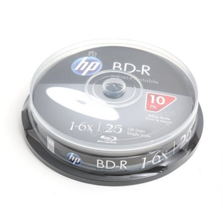 Blu-ray BD-R SL 25GB 6x HP InkJet Printable Tarrina 10 uds