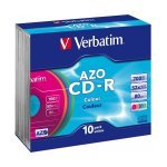 CD-R 52x 700MB Verbatim DLP AZO Colour Caja Slim pack 10 uds