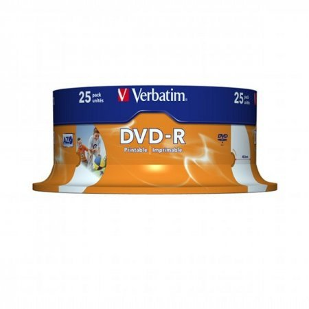 DVD-R 16x Verbatim Printable WIDE ID Tarrina 25 uds