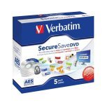 DVD-R Verbatim SecureSave  AES-256-Bit Caja Jewel Pack 5 uds