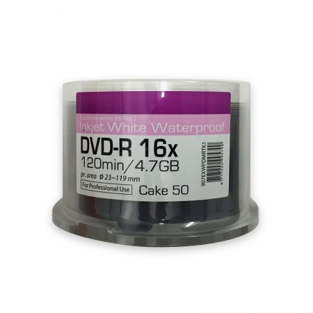 DVD-R 16x Ritek Excellence Series Hi Res Inkjet White Waterproof Tarrina 50 uds
