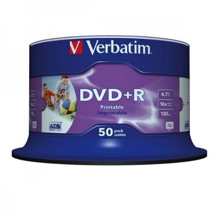DVD+R 16x Verbatim Printable WIDE NO ID Cake 50 pcs