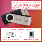 Pack 50 Pendrives UTS2 8GB Personalizados