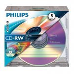 CD-RW 12x 700MB Philips Regrabable Caja Slim pack 5 uds