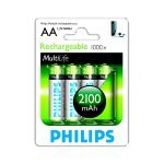 Pilas Recargables AA NiMH 2100mAh Philips Multilife pack 4 uds