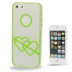 iPhone 5 Carcasa Plastico Hearts Verde