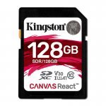 Kingston Canvas React Tarjeta SDXC 128GB Clase 10 UHS-I U3 V30 A1