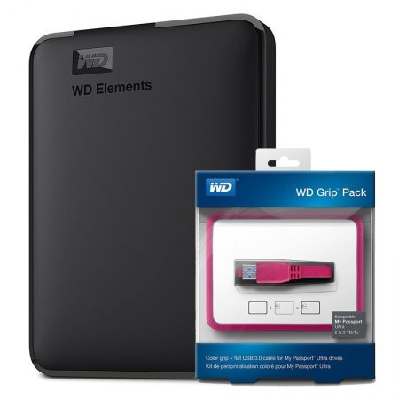 2.5 Disco Duro Externo USB 3.0 3TB WD Elements + WD Grip Pack