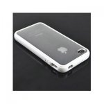 iPhone 4 / 4S IQWO Funda Bumper + Plástico Transparente Blanco Brillante