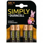 Pila Alcalina AA Duracell Simply pack 4 uds (LR6)