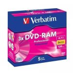 DVD-RAM 4.7GB 3x Verbatim Pack 5 Cartuchos T2