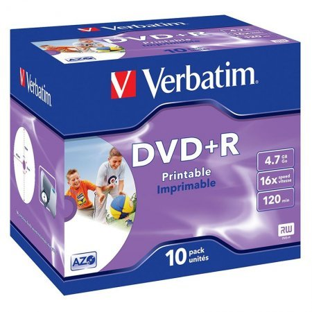 DVD+R 16x Verbatim Printable Pack 10 Uds. Jewel Case