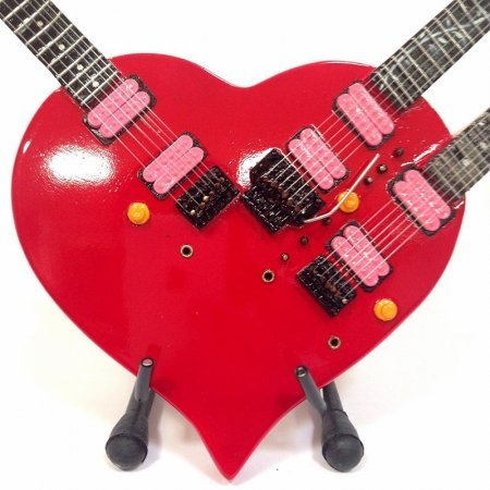 Mini Guitarra De Colección Estilo Steve Vai - Triple Neck Heart